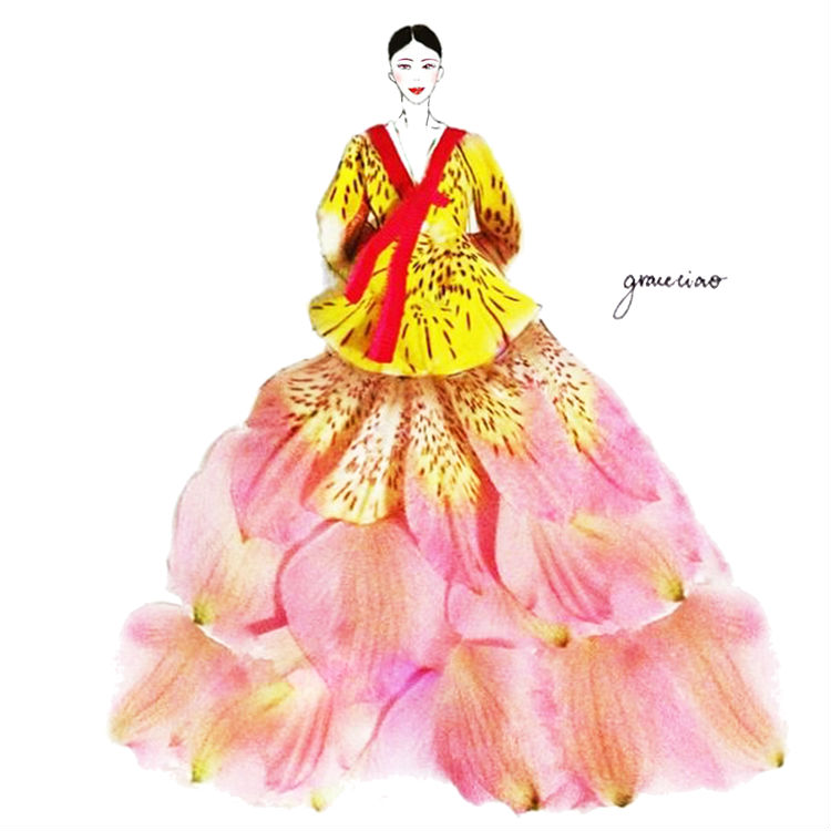 fashion illustration made of flower petals by Grace Ciao