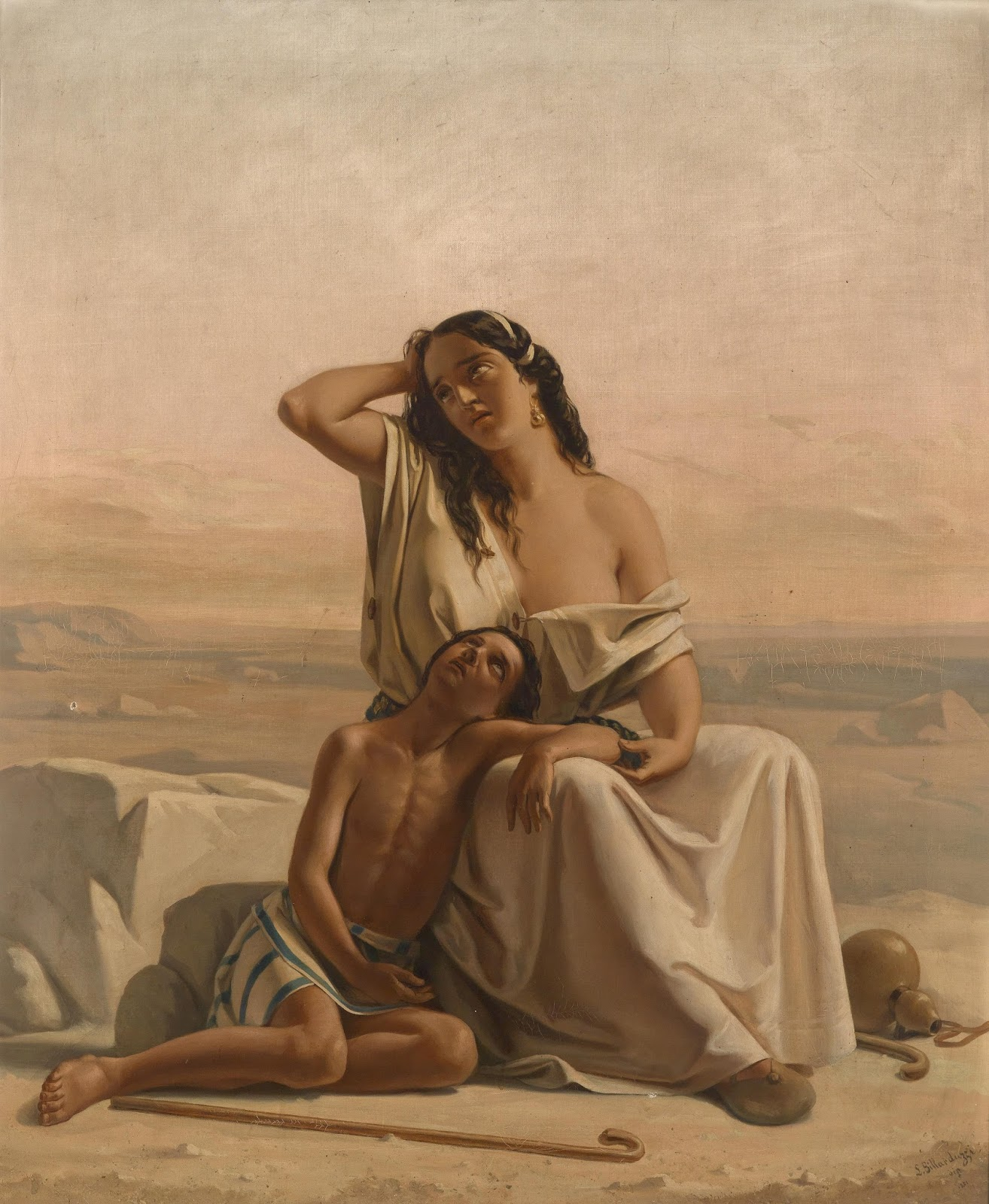 Hagar and Ishmael in the desert, Luigi Alois Gillarduzzi 1851, oil on canvas
