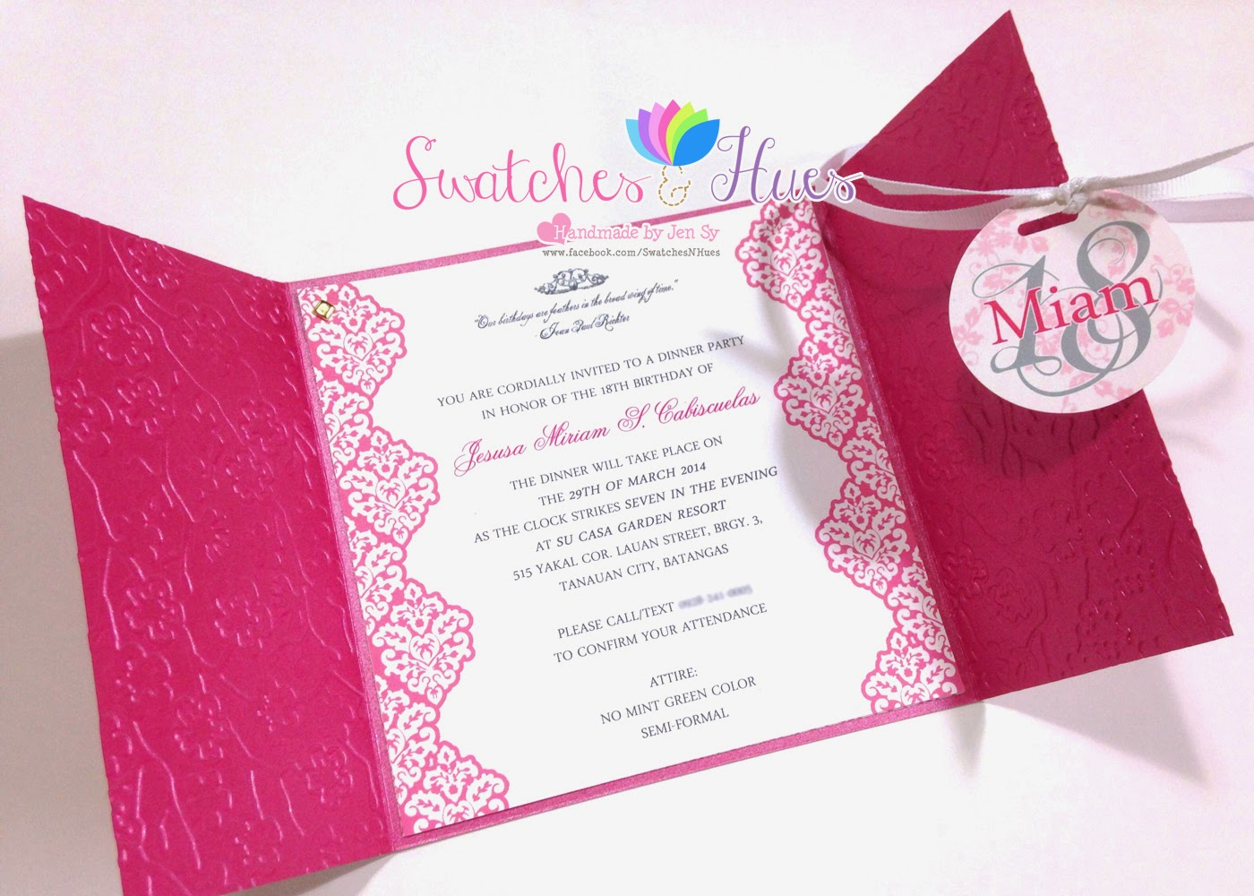 Swatches Hues Handmade with TLC Princess theme gate fold – Invitation for 18th Birthday