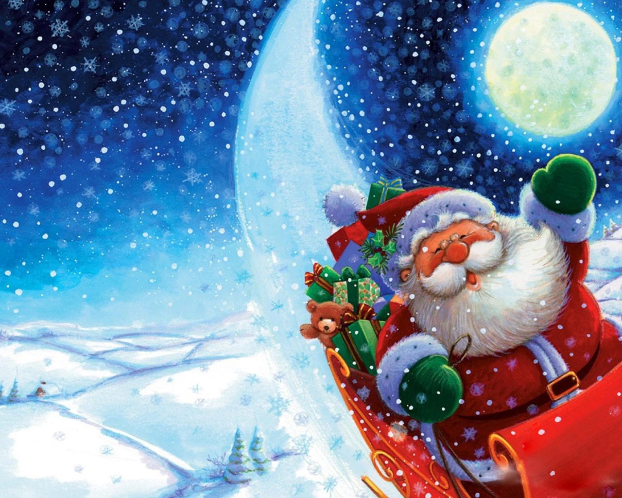 Santa Claus en trineo