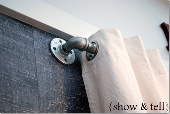 in your back pocket industrial pipe curtain rods. Black Bedroom Furniture Sets. Home Design Ideas