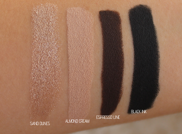 milani naturally chic shadoweyez swatches review sand dunes almond milk black ink espresso line