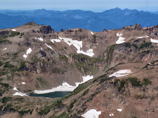 A view from the Pacific Crest Trail of Goat Lake