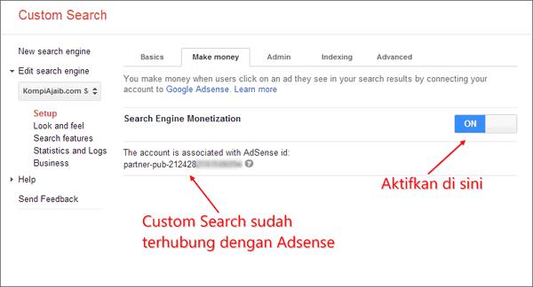 Mengubungkan Adsense Dengan Custom Search