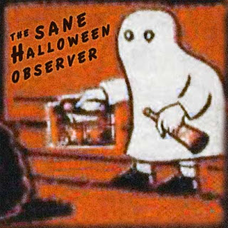 Image of ghost trick-or-treater with candy box from a vintage Halloween container.