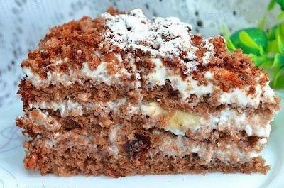 Изумительно вкусный торт с орехами, черносливом и бананами