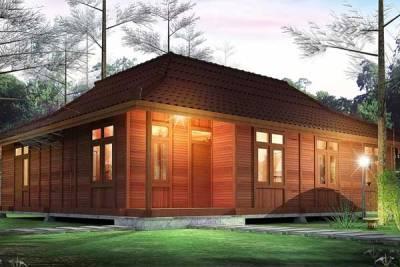 membangun rumah kayu modern