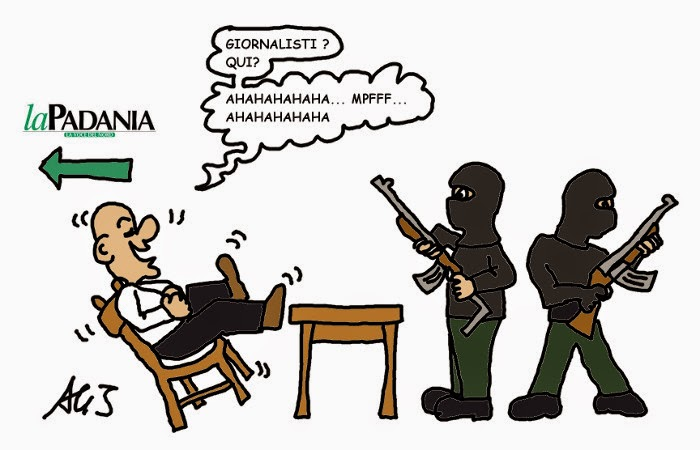 La padania, terrorismo, attentato, charlie hebdo, satira, vignetta