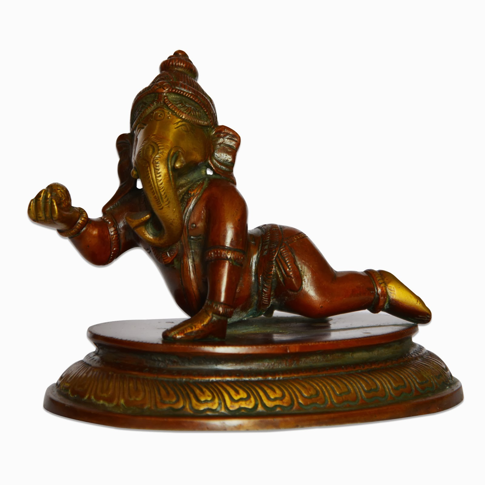 Baby Ganesha Playing Handmade Brass Statues