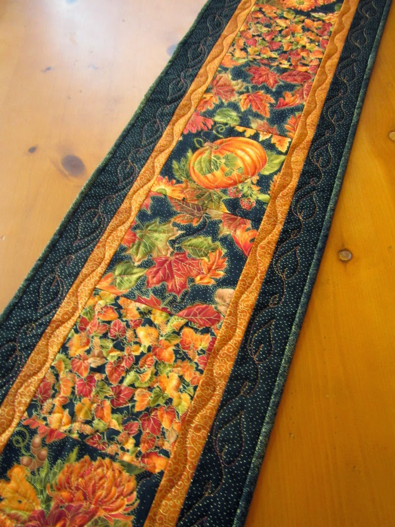 Quilted Table Runner Fall Colors Autumn Pumpkins And Leaves Table Decor
