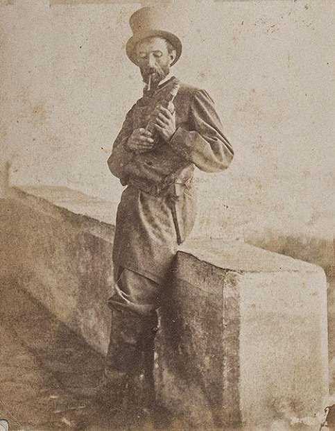 Carte De Visite Portrait Of A Confederate Soldier Wearing Top Hat And Holding Bottle Alcohol Thought To Be Photographed Somewhere In Charleston