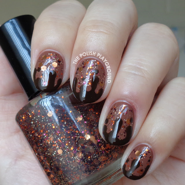 Glittery Brown with Chocolate Drips Nail Art