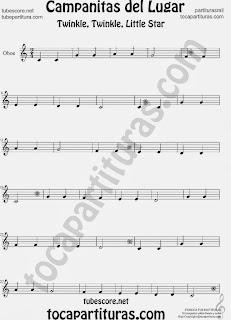 Partitura de Campanitas del Lugar para Oboe Villancico Christmas Carol Song Twinkle twinkle little Sheet Music for Oboe Music Scores