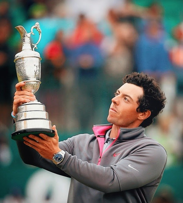 Rory McIlroy with OMEGA Seamaster Aqua Terra watch at The 143rd Open Championship at Royal Liverpool on 20th July 2014