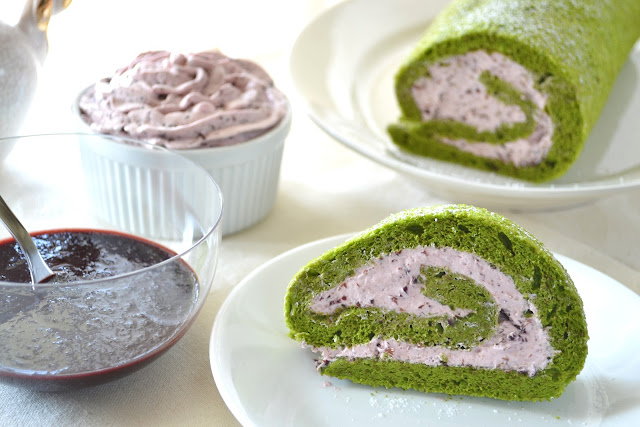 Green Tea Roll Cake with Cherry Mousse Filling