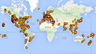 Visited 100 countries Wayne Pat Dunlap travel map