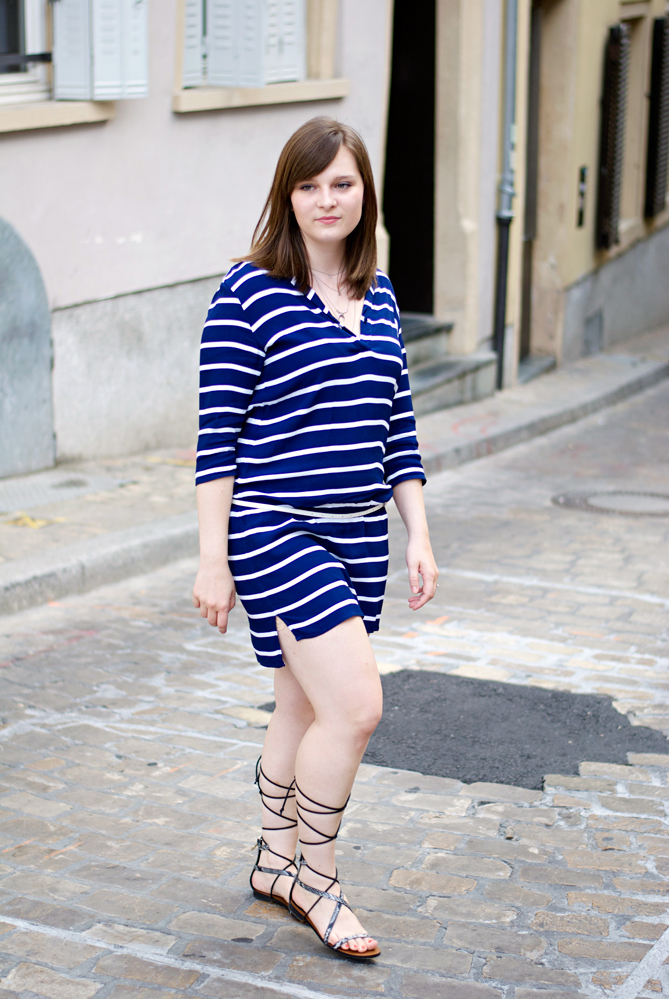 gladiator sandals striped dress summer outfit look