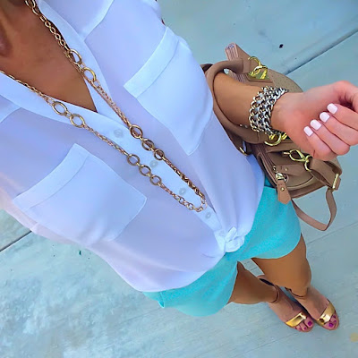 Express Sleeveless Portofino, Mint J Crew Shorts, Metallic Sandals