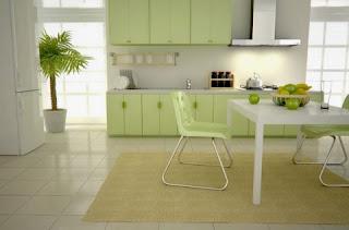 cocina verde y blanco