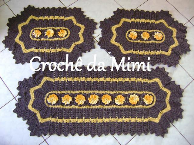 Jogo De Banheiro Marrom E Amarelo : Jogo de cozinha catavento marrom e amarelo quot croch? da mimi