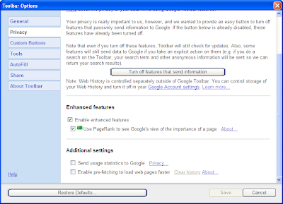 Screen shows how to Enable Google toobar PageRank button