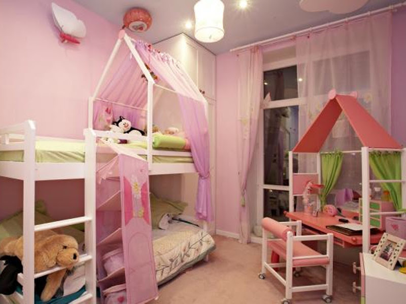 Pink bedroom with white color combination title=