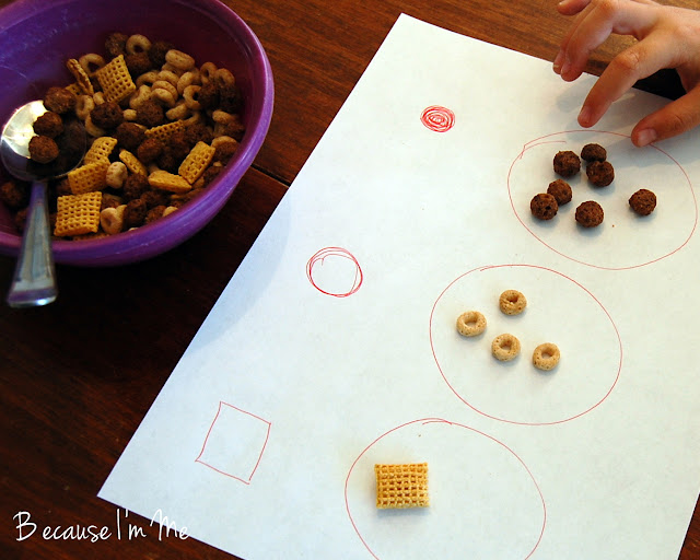 Because I'm Me cereal sorting preschool activity