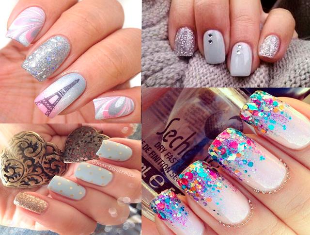 Inspiração, glitter, esmalte, nail art, esmaltes, claros