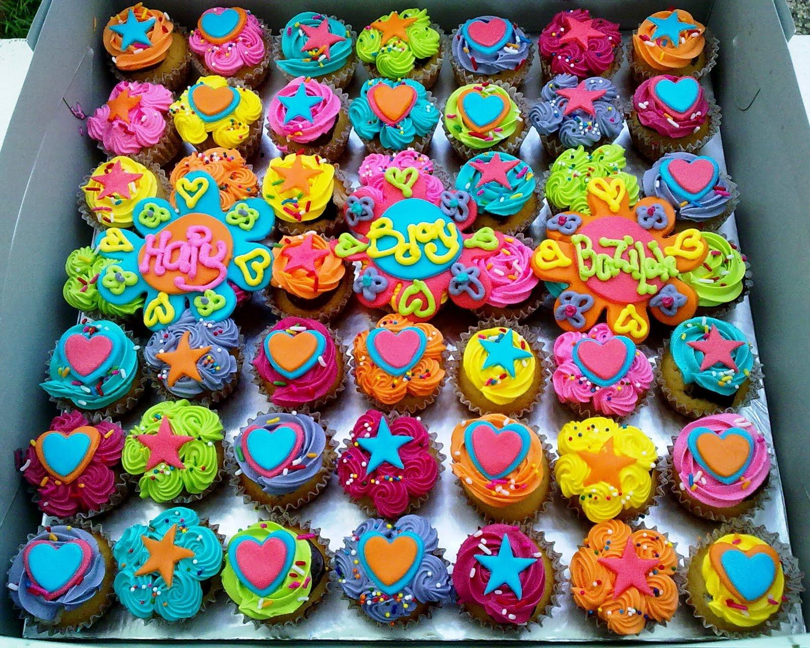 кексы разноцветные