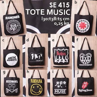 jual online tote bag kanvas murah tema musik logo grup band untuk pria - music se 415 (the beatles, nirvana, radiohead, the rolling stones, arctic monkeys, muse)