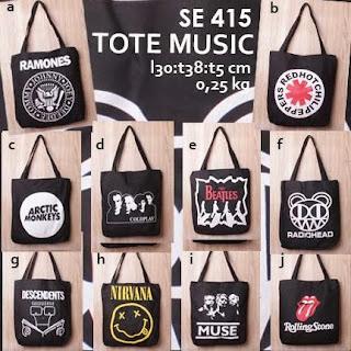 jual online tote bag kanvas murah tema musik logo grup band untuk pria - music se 415 (the beatles, nirvana, radiohead, the rolling stones, arctic monkeys, muse)