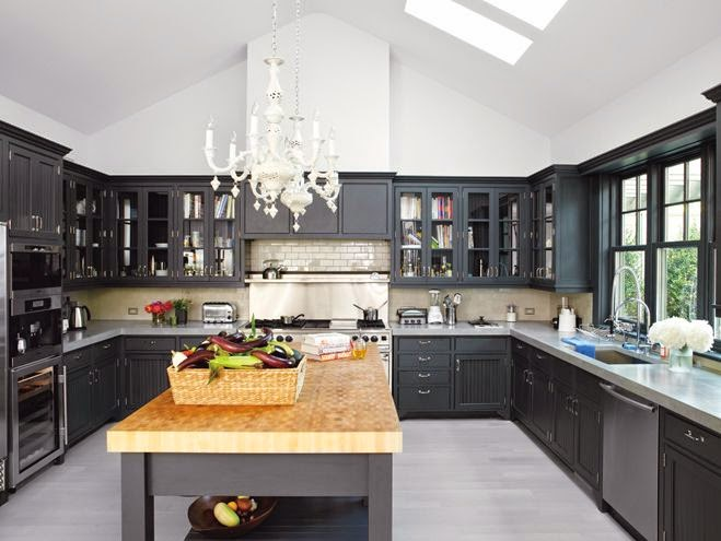 Dark Cabinets Light Granite With A Rustic Glam Dining Area Gwyneth Paltros Kitchen