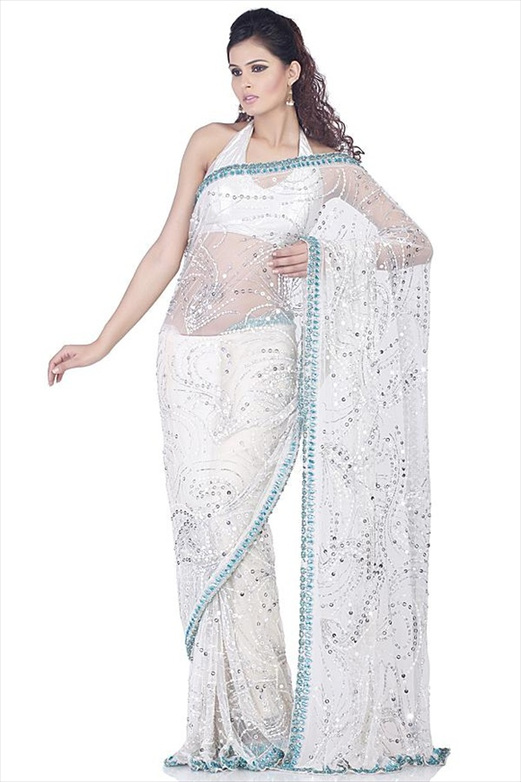 White Saree indian