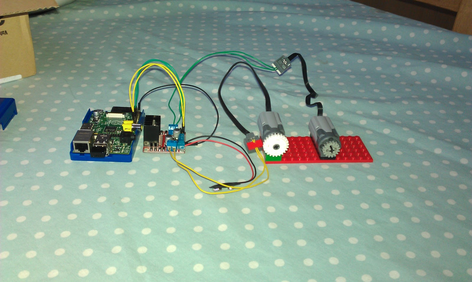 Pauls geek dad blog raspberry pi powered lego car here you can see the raspberry pi on the left 4 jumper wires going from the gpio to the motor controller inputs a jumper wire going to the motor asfbconference2016 Choice Image