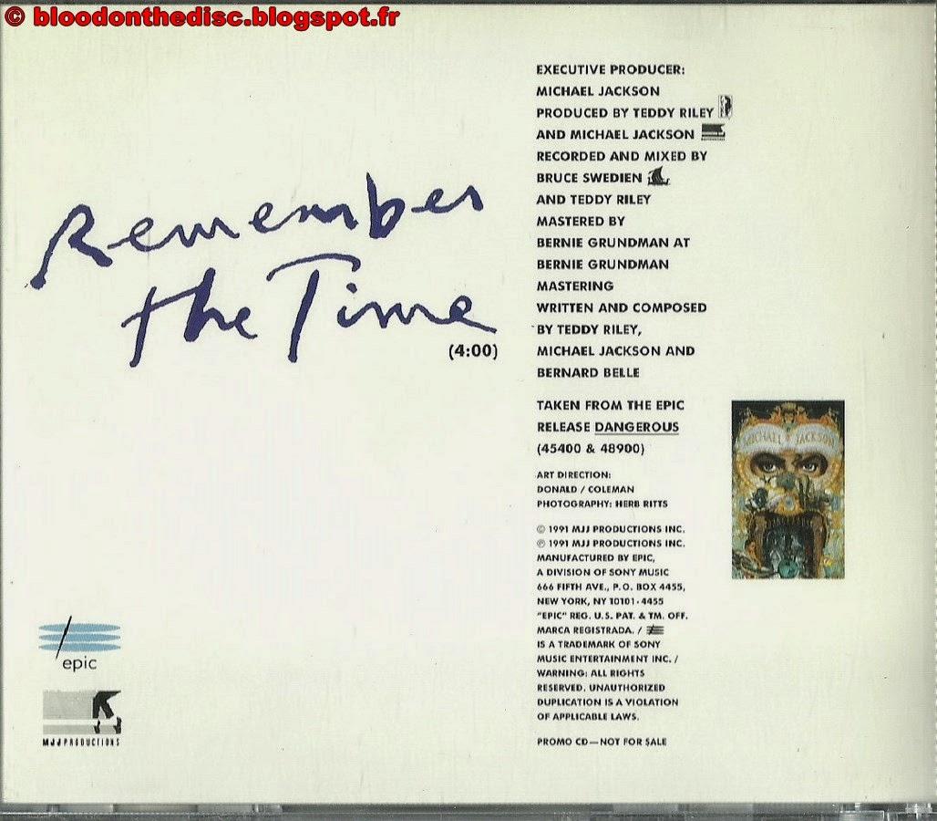 Remember The Time CD Promo Américain arrière
