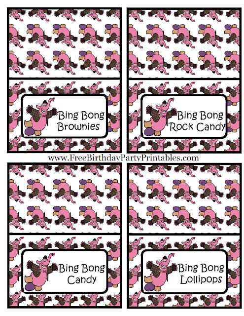 "Free Bing Bong  ""Inside Out""  Birthday Party Printables- Food Cards Bing Bong Brownies, Bing Bong Rock Candy, Bing Bong Candy, Bing Bong Lollipops"
