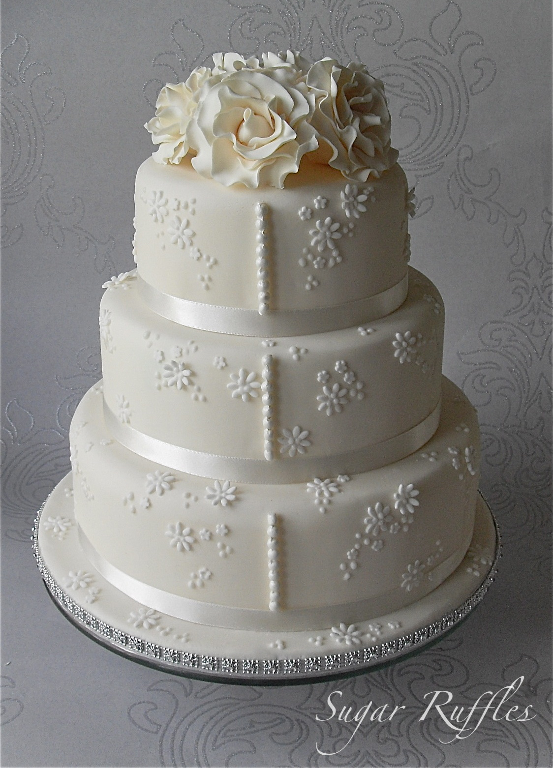 Lace Cake Wedding Fancy Red