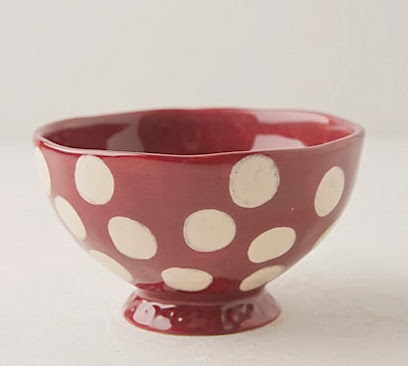 Red and white polka dot bowl