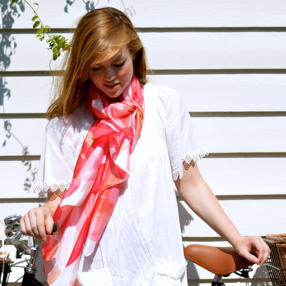 Squeak design peony silk scarf