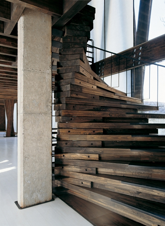 Thick spiral wooden stairs