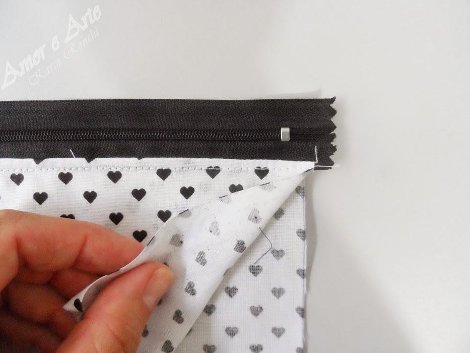 passo à passo, carteira de tecido