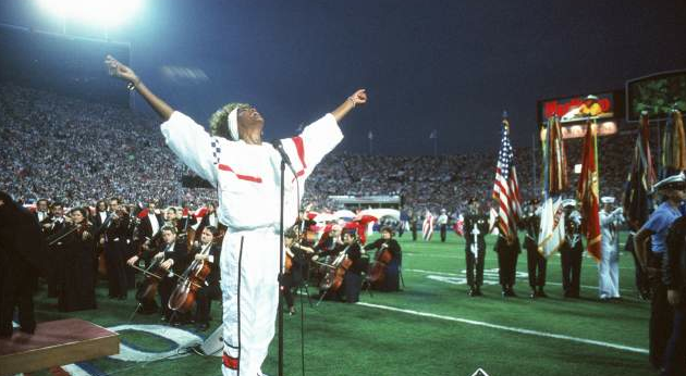 whitney houston sings start spangled banner cause of death drowned leaches