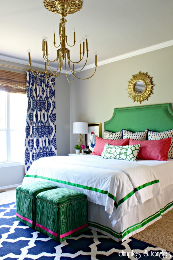 How to reupholster an ottoman, Robert Allen Malakos malachite fabric, diy upholstered ottoman makeover, colorful master bedroom, upholstered headboard