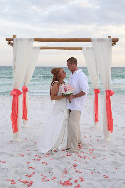 coral wedding decorations for the beach in Destin