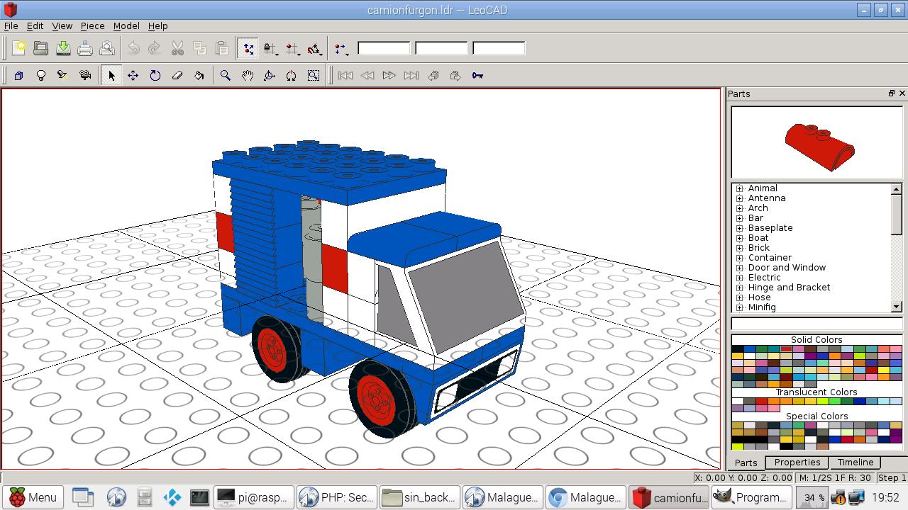 LeoCAD running Tente 3D