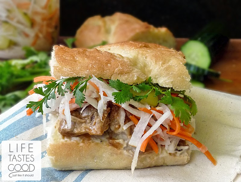 Vietnamese Pork Sandwich Recipe-Banh Mi | by Life Tastes Good is love at first bite! #PickledVegetables #Asian