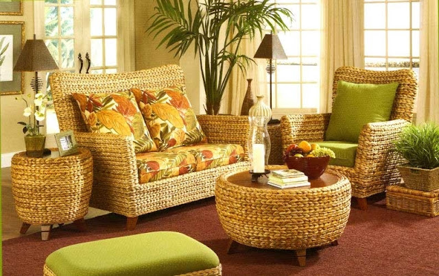 living room wicker furniture in colonial style homes