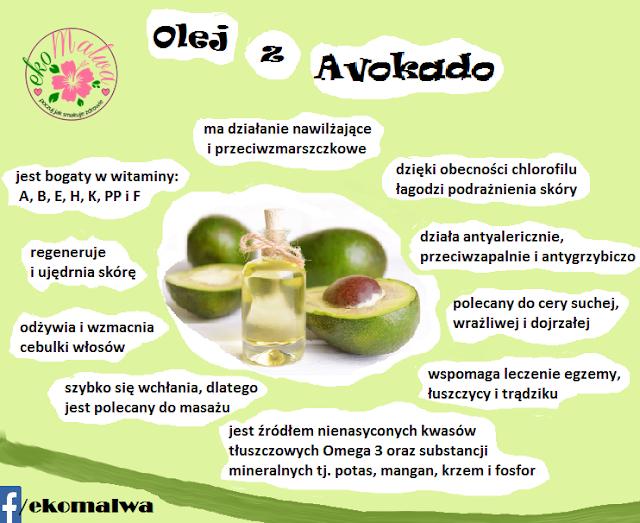 ZASTOSOWANIE  Oleju Avokado:       w domowym zaciszu stosowany bezpośrednio na skórę         nawilżający masaż w własnym zakresie         zabiegi wykonywane w wyspecjalizowanych gabinetach masażu         Kąpiel - dodanie ok. jednej łyżki stołowej (ok. 8-10 ml) do wanny wypełnionej min. (1/3 ) wody, intensywnie nawilży nasza skórę, którą zazwyczaj woda wysusza         Z powodu bezwonnego zapachu i neutralnego koloru jest idealnym dodatkiem do produkcji wysokiej jakości kremów domowej roboty         do produkcji profesjonalnych kremów         moczenie stóp         po otwarciu olej należy przechowywać w ciemnym miejscu
