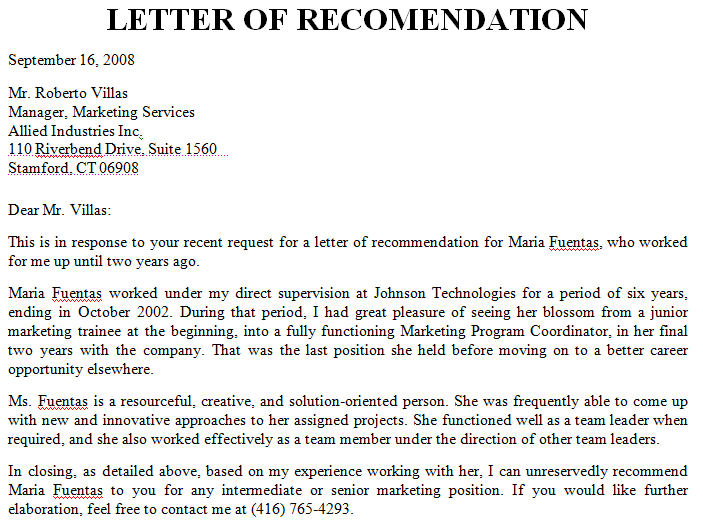 Employer recommendation letter