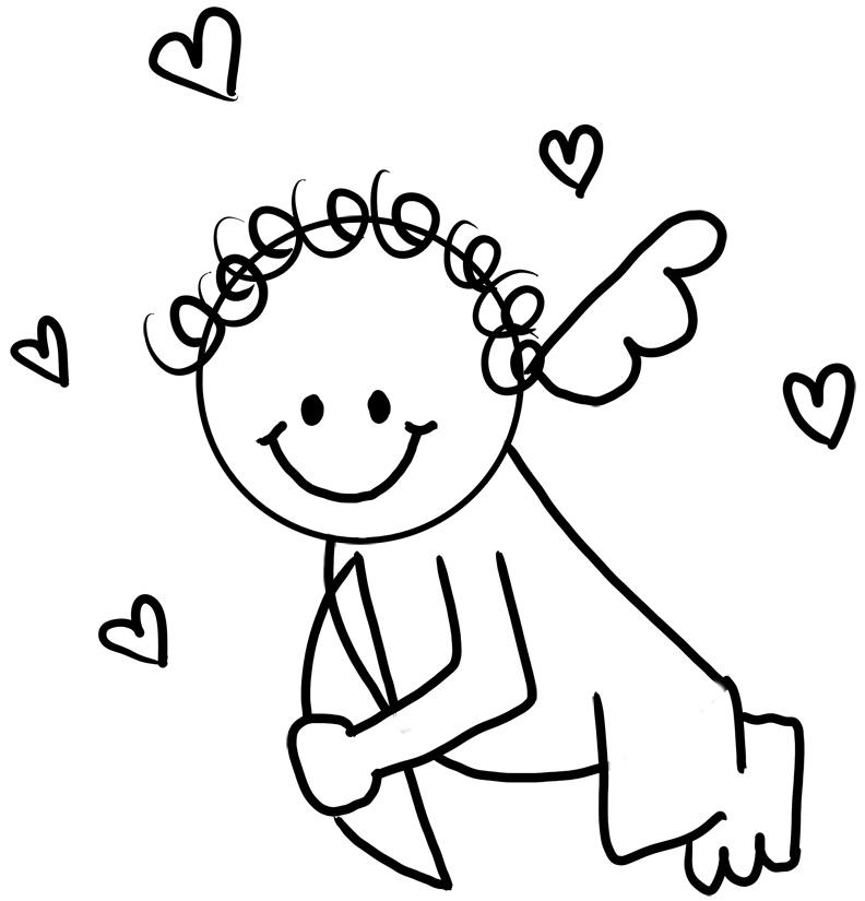 Valentines Cupid Printable Coloring